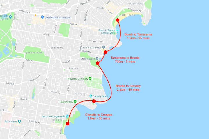 Bondi to Coogee Walk Map