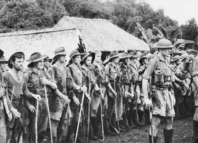 Soldiers of the Australian 39th Battalion preparing for the Kokoda Track advance